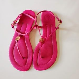 Tory Burch Pink Magenta Emmy Leather Sandals